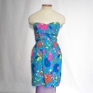 Shoshanna Blue Tropical Strapless Dress sz 0